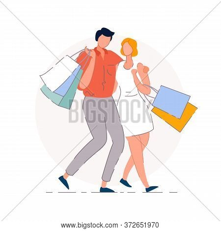 Shopping Couple. Isolated Vector Shopaholic Man And Woman People Couple Cartoon Characters Embracing