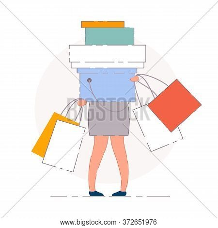 Woman Shopping Bags. Isolated Vector Woman Shopaholic Buyer Person Cartoon Character Holding Shoppin