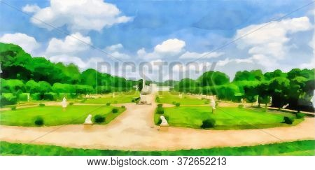 Watercolor Cityscape. Park Area. Symmetrical Structure Of The Park Area, Paths And Flowerbeds. Digit