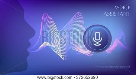 Person Using Voice Control. Virtual Assistant Concept. Artificial Intelligence Support Wave. Microph