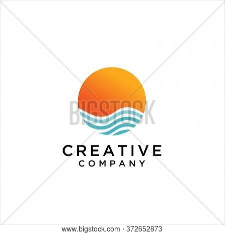 Sunset And Sunrise Icon. Design Template Vector, Ocean Waves Sunrise Abstract Logo