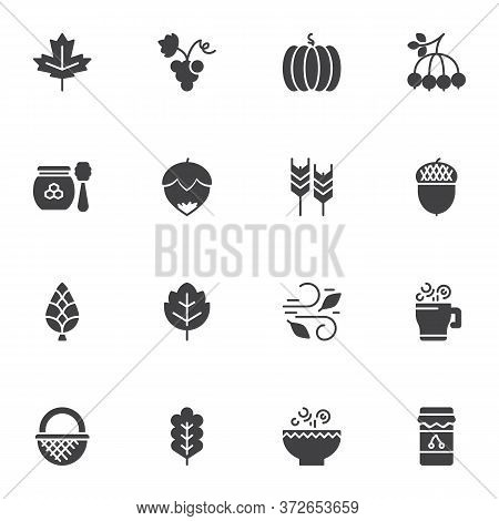 Autumn Elements Vector Icons Set, Modern Solid Symbol Collection, Filled Style Pictogram Pack. Signs