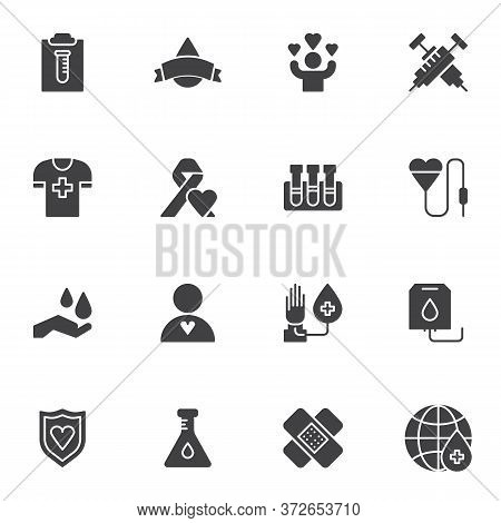 Hematology Vector Icons Set, Blood Donation Modern Solid Symbol Collection, Filled Style Pictogram P