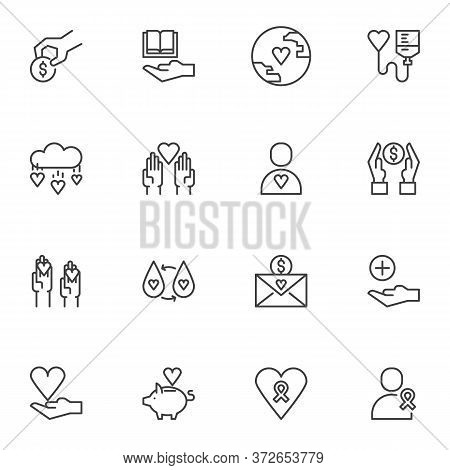 Charity Donation Vector Icons Set, Modern Solid Symbol Collection, Filled Style Pictogram Pack. Sign
