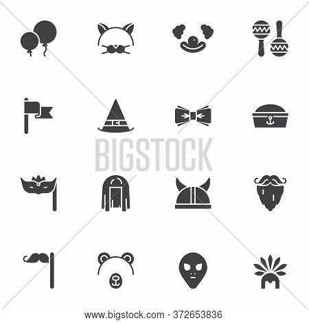 Costume Party Vector Icons Set, Modern Solid Symbol Collection, Filled Style Pictogram Pack. Signs,