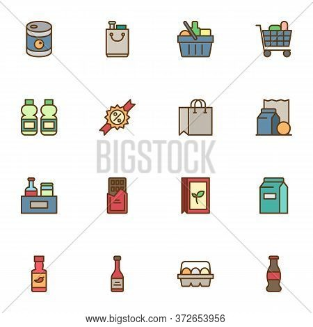 Grocery Shop Filled Outline Icons Set, Line Vector Symbol Collection, Linear Colorful Pictogram Pack
