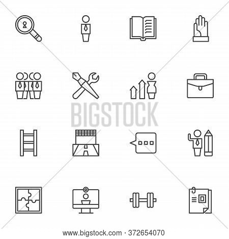 Team Work Related Line Icons Set, Outline Vector Symbol Collection, Linear Style Pictogram Pack. Sig