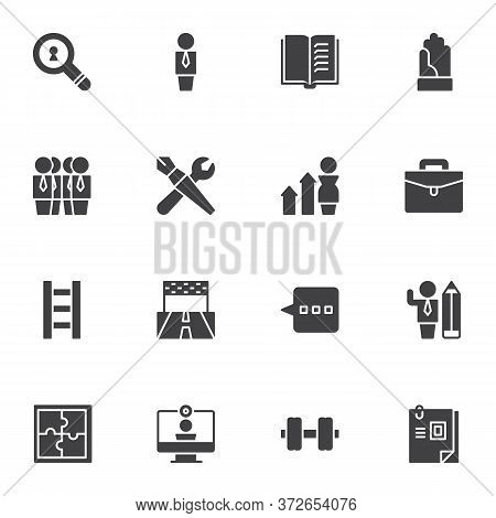 Team Work Related Vector Icons Set, Modern Solid Symbol Collection, Filled Style Pictogram Pack. Sig