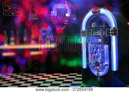 Jukebox In Ice Cream Parlor Photo Composite