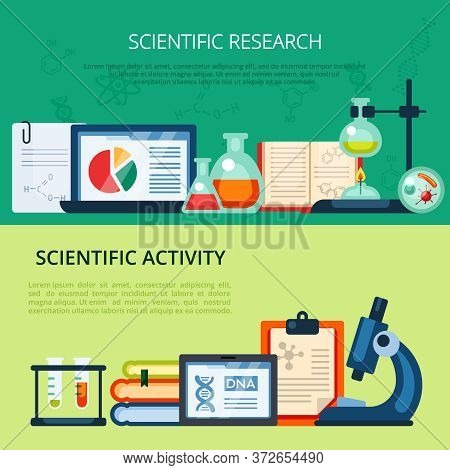 Scientific Research Illustration. Chemical Biological Process Studying Experimenting On Development