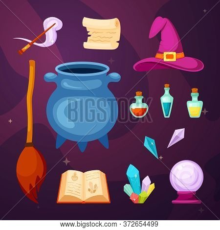 Witching Magic Items Set. Cauldron Cooking Potion Magic Wand Scroll Book With Spells Flying Broom Mu