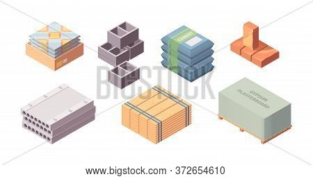 Construction Materials Building Isometric Set. Box With Tiles Large Concrete Blocks Gray Cinder Bloc