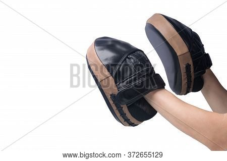 On Two Hands Paws For Practicing Blows With Hands Isolated On A White Background