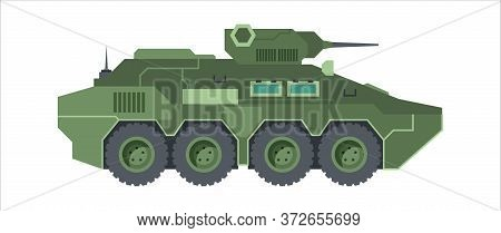 Fighting Armored Vehicle Camouflage. Wheeled Green Armored Personnel Carrier Gun Tower Automatic Ant