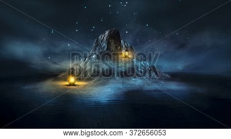 Fantasy Night Scene With Sea Landscape. The Island In The Form Of Mountains, Smoke, Fog, Reflection