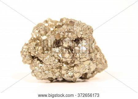 Iron Pyrite Close Up On White Background