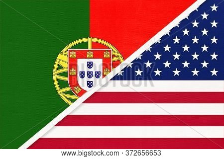 Portugal Or Portuguese Republic And United States Of America Or Usa, Symbol Of Two National Flags Fr