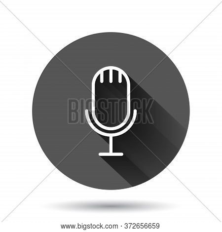 Microphone Icon In Flat Style. Studio Mike Vector Illustration On Black Round Background With Long S