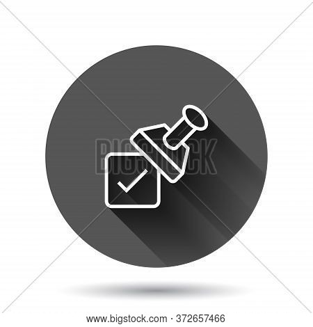 Approve Stamp Icon In Flat Style. Accept Check Mark Vector Illustration On Black Round Background Wi