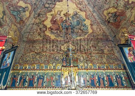Kozany,slovakia - June 9,2020 - View At The Interior Of Wooden Church Of Encounter Of The Lord With