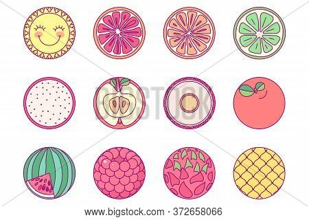 Vector Template Cute Round Set. Print For Disposable Tableware