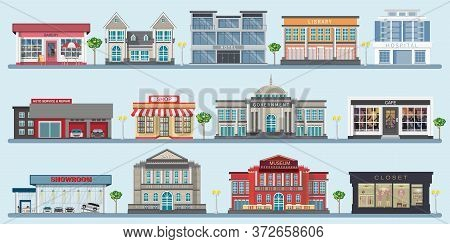Colorful Of City Buildings With Various Large Modern Buildings, Museum, Hospital, Bank, Library, Caf