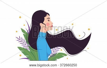Asian Fashion Woman, Minimalist Style. Eastern Lady With Long Fluttering Hair Among Tropical Leaves.