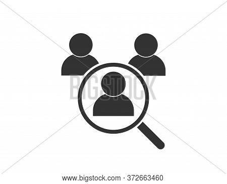 We Are Hiring. Search For Job. Find Vacancy. Loupe Icon With Person Silhouette. Look For Candidate.