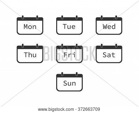 Days Of Week. Diary Planner With From Sunday To Saturday. Schedule Reminder Icons. Set Of Calendar E