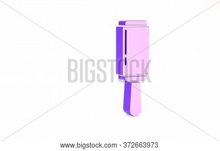 Purple Adhesive Roller For Cleaning Clothes Icon Isolated On White Background. Getting Rid Of Debris