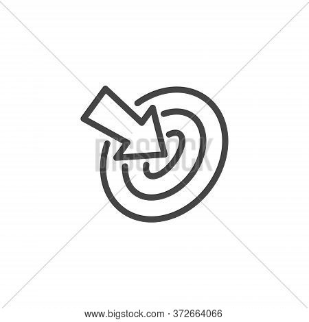 Thin Outline Icon Target And Arrow Pointer. Such Line Sign As Focusing Attention Or Concentration At