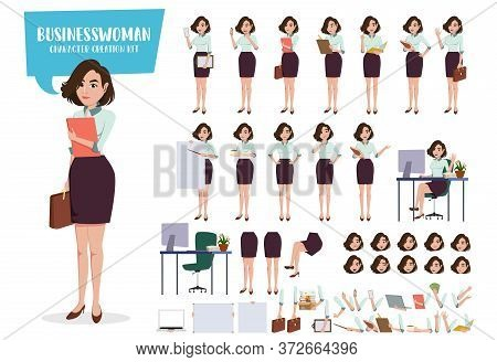 Businesswoman Character Creation Vector Set. Business Woman Characters Female Office Employee Staff