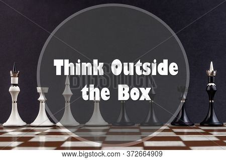 Inspirational Quote On A Chess Background. Think Outside The Box.
