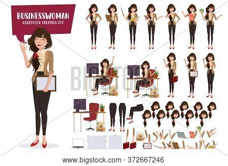 Business Woman Character Creation Vector Set. Businesswoman Female Characters Editable Create Face A
