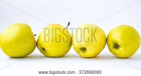 Yellow Apples On White Background. Healthy Food, Copy Space For Text, Banner Size, Dieting Green Gra