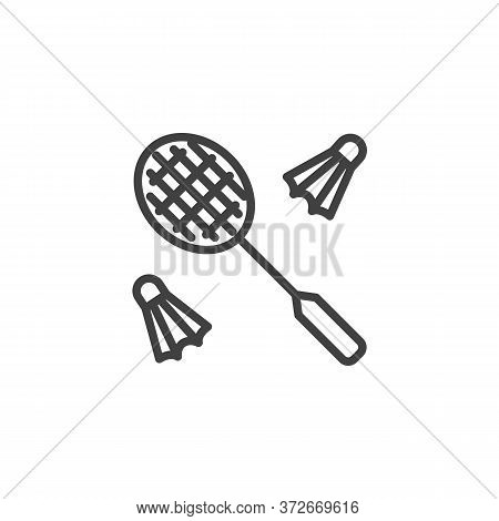 Badminton Game Line Icon. Linear Style Sign For Mobile Concept And Web Design. Shuttlecock And Badmi
