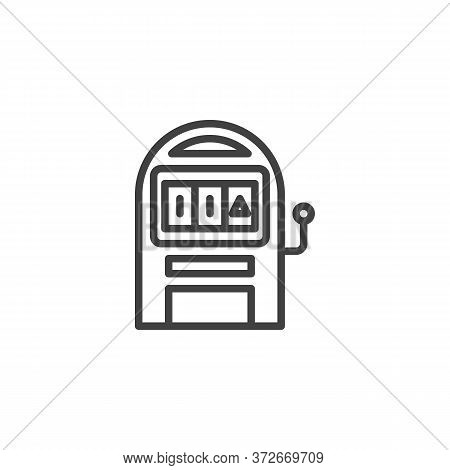 Slot Machine Line Icon. Linear Style Sign For Mobile Concept And Web Design. Casino Slot Machine Out