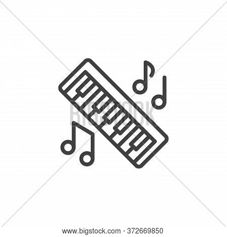 Piano Music Line Icon. Linear Style Sign For Mobile Concept And Web Design. Piano Key, Keyboard And