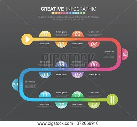 Timeline Infographics Template, Vector Infographics Timeline Design Template With 14 Label