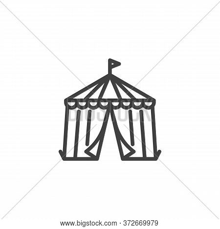 Circus Tent Line Icon. Linear Style Sign For Mobile Concept And Web Design. Circus Tent With Flag Ou