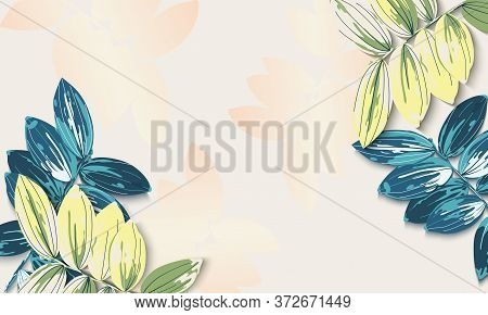 Banner With Yellow And Aquamarine Tropical Leaves On Light Background. Exotic Botanical Design.