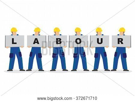 Vector Illustration Of Construction Workers Holding White Board Cards Title Labour. Full Length On