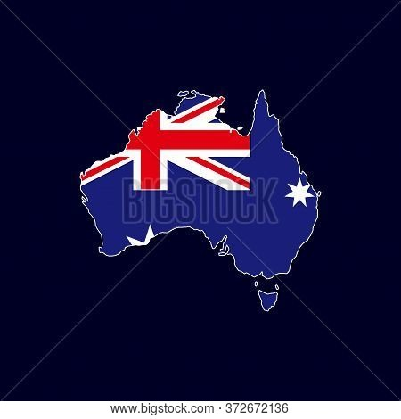 Australian Map With Flag Vector Isolated On Dark Background. Australian Map. Australia Map Vector. A