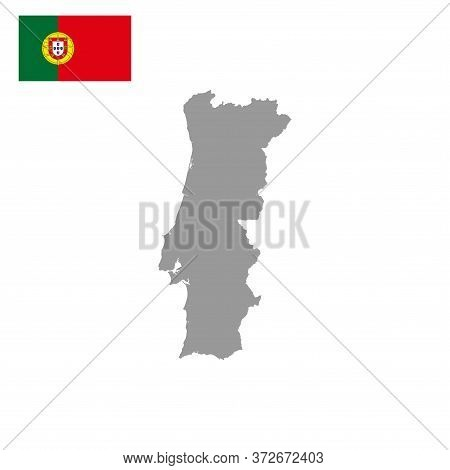 Portuguese Map Vector Isolated On White Background.  Portugal Map. Portuguese Map Vector. Portuguese