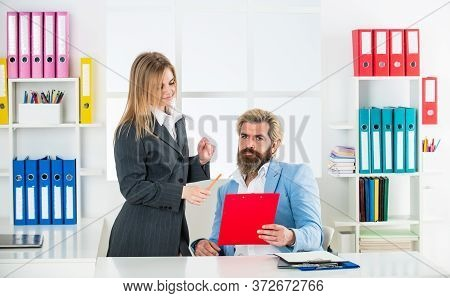 Business Report. Successful Business. Man And Woman Formal Clothes. Boss Manager Director. Consultin