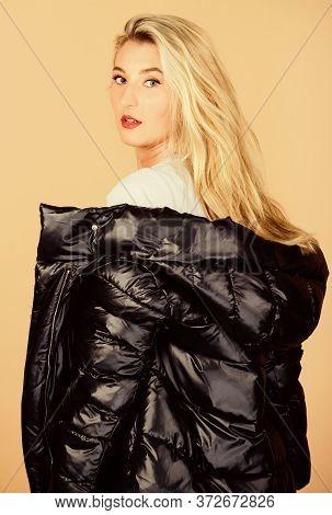 Hair Like Fire. Flu And Cold. Seasonal Fashion. Girl In Puffed Coat. Faux Fur Fashion. Beauty In Win