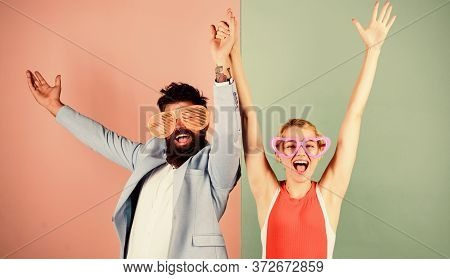Couple Having Fun. Office Party. Playful Businessman And Colleague Celebrating. Celebrating Holiday.