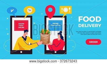 Food Delivery Horizontal Banner With Online Shopping App In Smartphone Consumer And Courier Characte