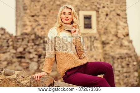 Vacation And Travel. Travel Agency. Travel Destinations. Woman Makeup Face Sit On Stony Ruins Backgr