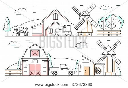 Farm Products Landscape Scene Concept Contour Linear Style Include Of Tractor, Mill, Barn And Cow. V